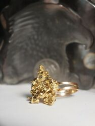 Genuine / Solid - Ladies 22k Yellow Gold Nugget Ring With 18ct Gold Band