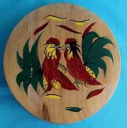 Rooster Chicken Wood Hamburger Press Vintage Hand Painted Hinged Lid Kitchen #5