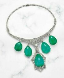 Necklace 925 Sterling Silver Green Cabochon Art Deco Style 925 Sterling Silver