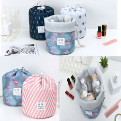 US 1 2 Pcs Large Barrel Travel Cosmetic Bag Nylon Organizer Drawstring Toiletry $6.62
