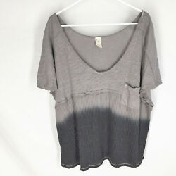 We The Free People Sun Dial Ombre Dip Dye Top Size M Gray Oversize Beach