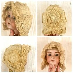 Antique Baby Or Doll's Lace Bonnet With Silk Lining Circa 1900 Lovely