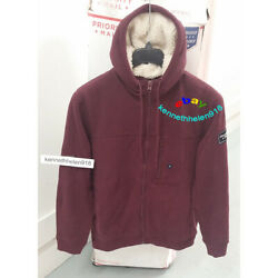 Abercrombie And Fitch Mens Sherpa Lined Full Zip Hoodie Sweatshirts Burgundy Sz M
