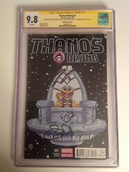 Cgc 9.8 Ss Thanos Rising 1 Variant Signed By Aaron, Bianchi And Young Avengers
