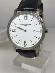 Baume And Mercier Classima Executives White Dial Leather Band Menand039s Watch M0a10097