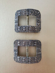 Pair Antique French Cut Steel Shoe Buckles Circa 1900