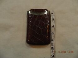 Leather Cigar Case W/sterling Band Used Vintage Crocodile Leather