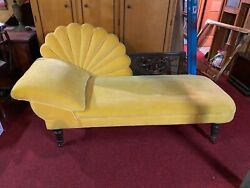 Antique Vintage Fainting Couch Chaise Lounge Yellow Velvet Shell Sun Design