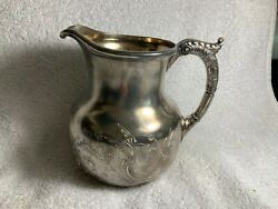 Fancy Antique Silver Plate Water Pitcher Reed And Barton Engraved Dragon Lion Bird
