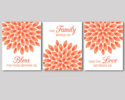 3 prints coral orange kitchen wall art decor Bless the food before us quote