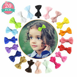 20-40 ColorsSet Ribbon 2inch Hair Bows Alligator Clips for Girls Toddlers Teens