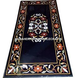 Black Marble Dining Center Table Top Rare Inlaid Mosaic Art Outdoor Decor H2490
