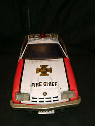 Fire Chief No 2 Tinplate Toy Car Collectible Item 1960 Vintage Battery Operated