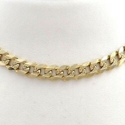 14k Gold Italy 7mm Cuban Curb Hammered Link Chain Necklace 20in Solid 38gr New