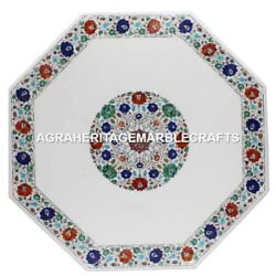 Marble Coffee Table Top Multi Gemstone Marquetry Inlay Living Garden Decor H1730