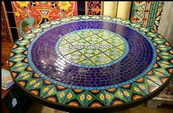 Traditional Marble Dining Top Table Mosaic Inlay Stone Hallway Decorative H3937