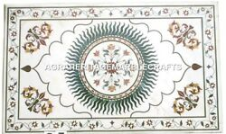 White Marble Dining Center Table Top Mosaic Semi Modern Inlay Home Decor H2422