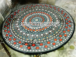 Black Marble Dining Table Top Hakik Stone Marquetry Inlay Home Gifts Decor H3370