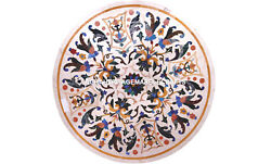 White Round Marble Office Center Table Top Mosaic Inlay Art Corridor Decor H5659