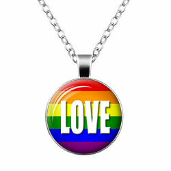 Lgbt Rainbow Pride Colorful Pendant Charm Sterling Silver Necklace Men Female