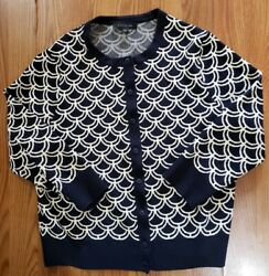 Ann Taylor blue and white Scalloped Design Nylon Cardigan Large