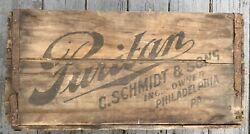 Antique C Schmidt And Sons Puritan Beer Crate Sign Pre Prohibition Vintage Pabst