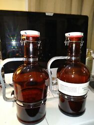 Brown Beer Bottles Set 2, With Wire Bale Swing Top, Half Gallon Each
