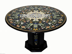 Black Marble Coffee Table Top With Stand Marquetry Gems Inlay Mosaic Decor H3360