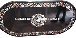 Marble Black Dining Table Top Marquetry Inlay Gemstone Art Furniture Decor H2428