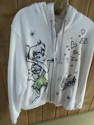 Disney Store White Cotton Blend Full Zip Hoodie Tinkerbell Design Sz 2XL