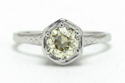100 Year Old Antique Art Deco Engagement Ring Diamond Solitaire Old Mine Cut Gem