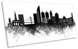 Montevideo Abstract City Skyline Picture Panoramic Canvas Wall Art Print Black