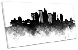 Phoenix Abstract City Skyline Picture Panoramic Canvas Wall Art Print Black