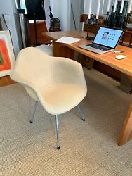2nd Generation Charles Eames Fabric Covered Parchment Sax-1 Shell Chair Label