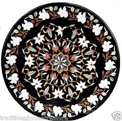 3' Black Marble Dining Center Table Top Inlaid Stone Floral Art Occasion Decor