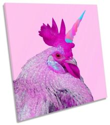 Chicken Unicorn Pink Picture Canvas Wall Art Square Print