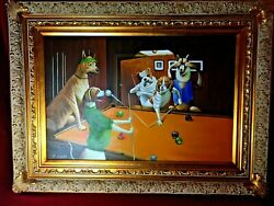 Dogs Playing Pool Original Oil On Canvass By H Davis W/ Layered Frame