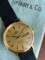 Vintage Omega Seamaster De Ville And Co Automatic Day Date 14k Gold 35mm