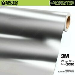 3m 2080 Series 60in Wide Gloss Silver Chrome Vinyl Vehicle Wrap Film Roll Gc451
