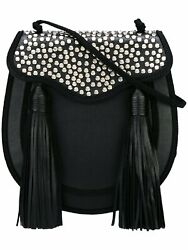 Saint Laurent YSL Opium 2 St. Lunas Nappa Leather Black Silver Tassel Bag 441703