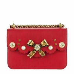 Gucci Classic Women's Red Bow Pearl Leather Chain Shoulder Bag 432281 $1,695.75