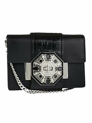 Prada Plex Ribbon Bag City Leather Black Jeweled Placket Bag Crossbody 1BD067