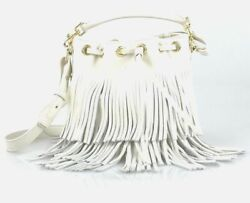 Saint Laurent YSL Small White Leather Bucket Bag With White Fringe 357603