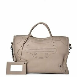 Balenciaga Blackout City Beige Perforated Leather Bag