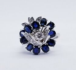 7500 2.50ct 14kt White Gold Sapphire And Diamond Estate Ballerina Cocktail Ring
