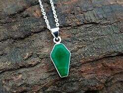 Natural Emerald Necklace Pendant Coffin Shape 925 Solid Sterling Silver