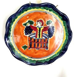 Vintage Hand Painted Patlan Talavera Mexico Pottery Wine Maker Plaque Signed