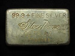 Vintage Silver Towne 10oz Silver Bar Engelhard Cast Rare 300 Minted Low Serial