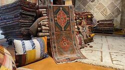 Stunning Antique 1930-1940and039s Wool Pile Natural Dye Runner Rug 1and0399 X 4and0395
