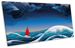 Sail Boat Yacht Blue Waves Print Panoramic Canvas Wall Art Picture